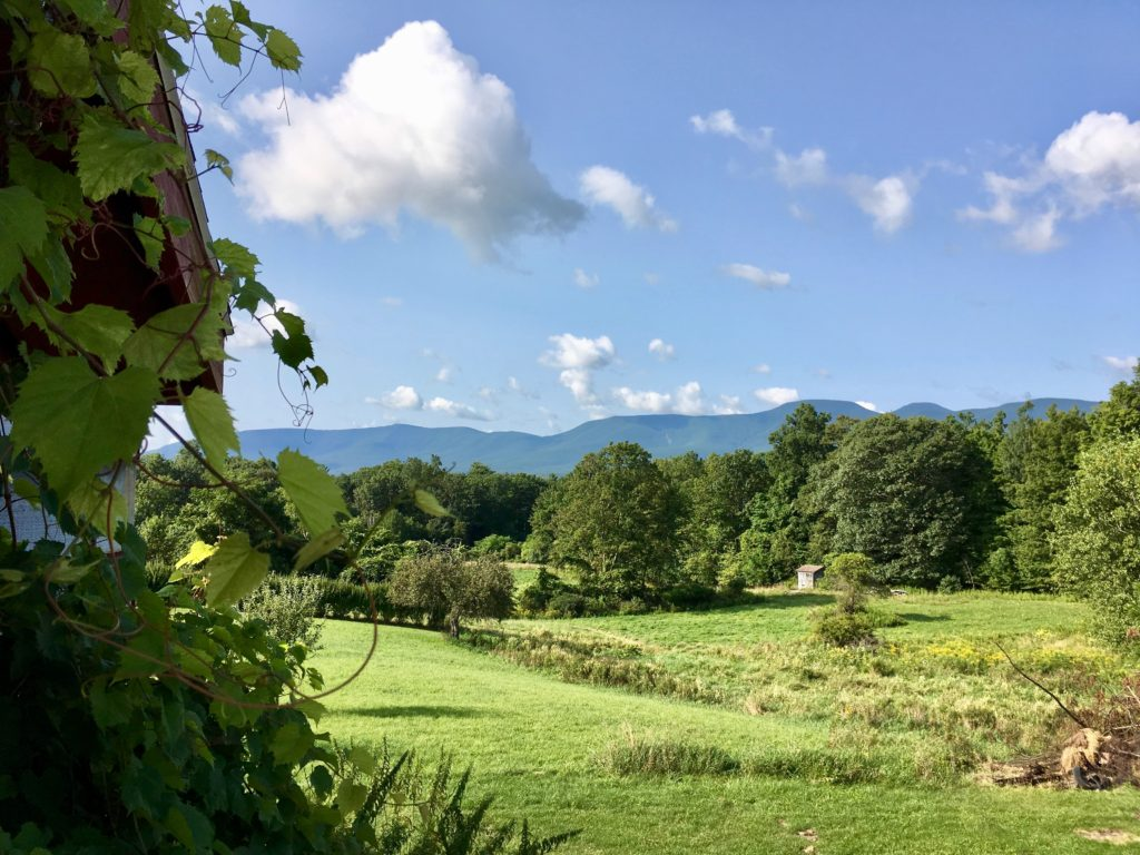 summertime view of catskill mountain range from top of barn porch staircase