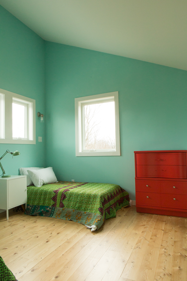 shot of one twin bed in 2nd floor westerly bedroom, large dresser
