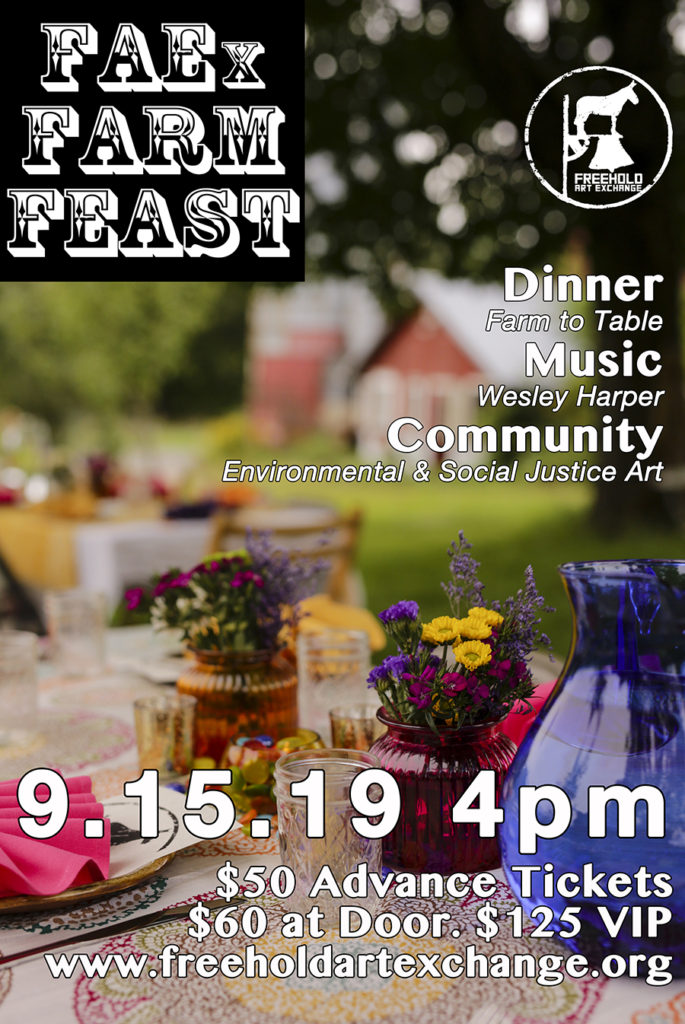 FAEx farm feast fundraiser brochure, a colorful table with small flowervases and blurred background barn shot